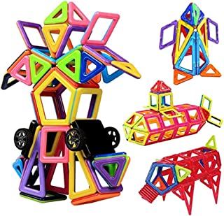 مجموعة من 100 قطعة من احجار البناء وهي عبارة عن لبنات لالعاب البناء والتراص المغناطيسي التعليمية مناسبة للاطفال بعمر 3 4 5...