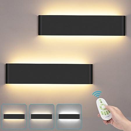 LUTDK 24W Applique Murale Interieur Avec télécommande 2 Pack Smart Applique Murale LED 3000-6000K Température de couleur et luminosité réglables Moderne Up Down Appliques Murales Noir (40CM)