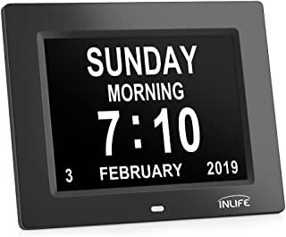 Large Display Digital Calendar Clock,INLIFE Impaired Vision Dementia Day Alarm Clock with 2 Auto-Dim, 8 Alarm Options for Seniors, Elderly, Memory Loss, Alzheimer