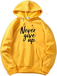 The SV Style Unisex Yellow Hoodie with Black Print: Never GIVE UP/Printed Yellow Hoodie/Graphic Printed Hoodie/Hoodie for Men & Women/Warm Hoodie/Unisex Hoodie