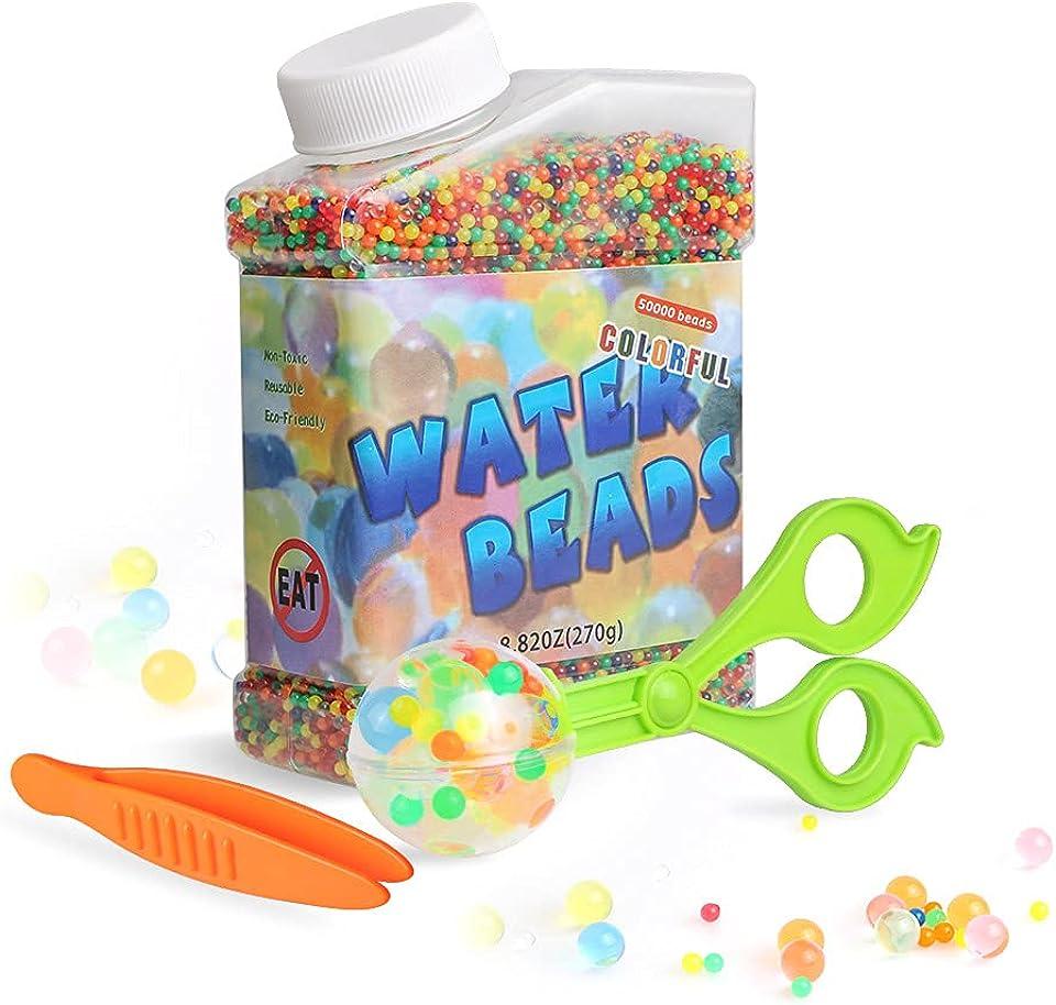Bililike Wasserperlen, Wasserperlen Zange für Kinder, 50000 Aquaperlen für Kinder Wasserkugeln Ungiftig, Aquaperlen XXL Wasser Perlen für Pflanzen Wasserperlen Deko Bunt Kommt mit 2 Zangen
