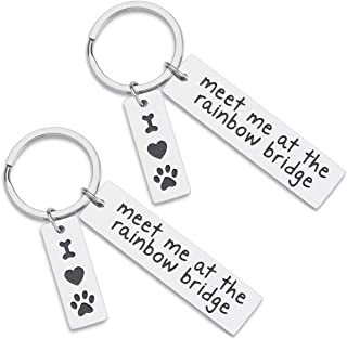 2PC Puppy Memorial Key Chain Gifts for Women Men, Meet Me at the Rainbow Bridge Charm Keychain, Dogs Cats Pass Away Keepsake Jewelry