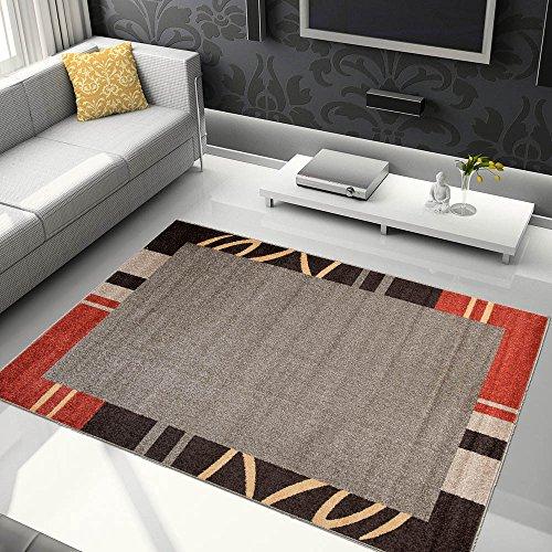 Tapiso Jawa Alfombra Salón Comedor Dormitorio Diseño Moderno Marrón Rojo Naranja Bordura Pelo Denso Frise 120 x 170 cm