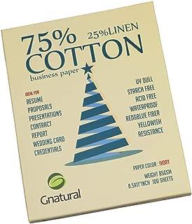 Neutral 75% Cotton 25% Linen Paper,85gsm Inkjet Laser Printing Paper,8.5