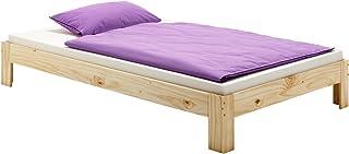 IDIMEX Lit futon Thomas Couchage Double 140 x 190 cm 2 Places / 2 Personnes, en pin Massif Vernis Naturel