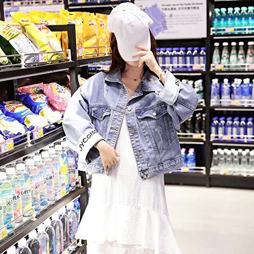 『デニムジャケットレディースジャケット春と秋の緩いデニムジャケット女子学生ショートショート (中号)』の2枚目の画像