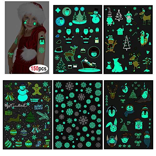 HOWAF 150Pcs Fluorescenti Luminose Natale Tatuaggi temporanei per Bambini, Falso Tatuaggio Tattoos Adesivi per Bambini Ragazze Ragazzi Festa di Natale Sacchetti Regalo Giocattolo