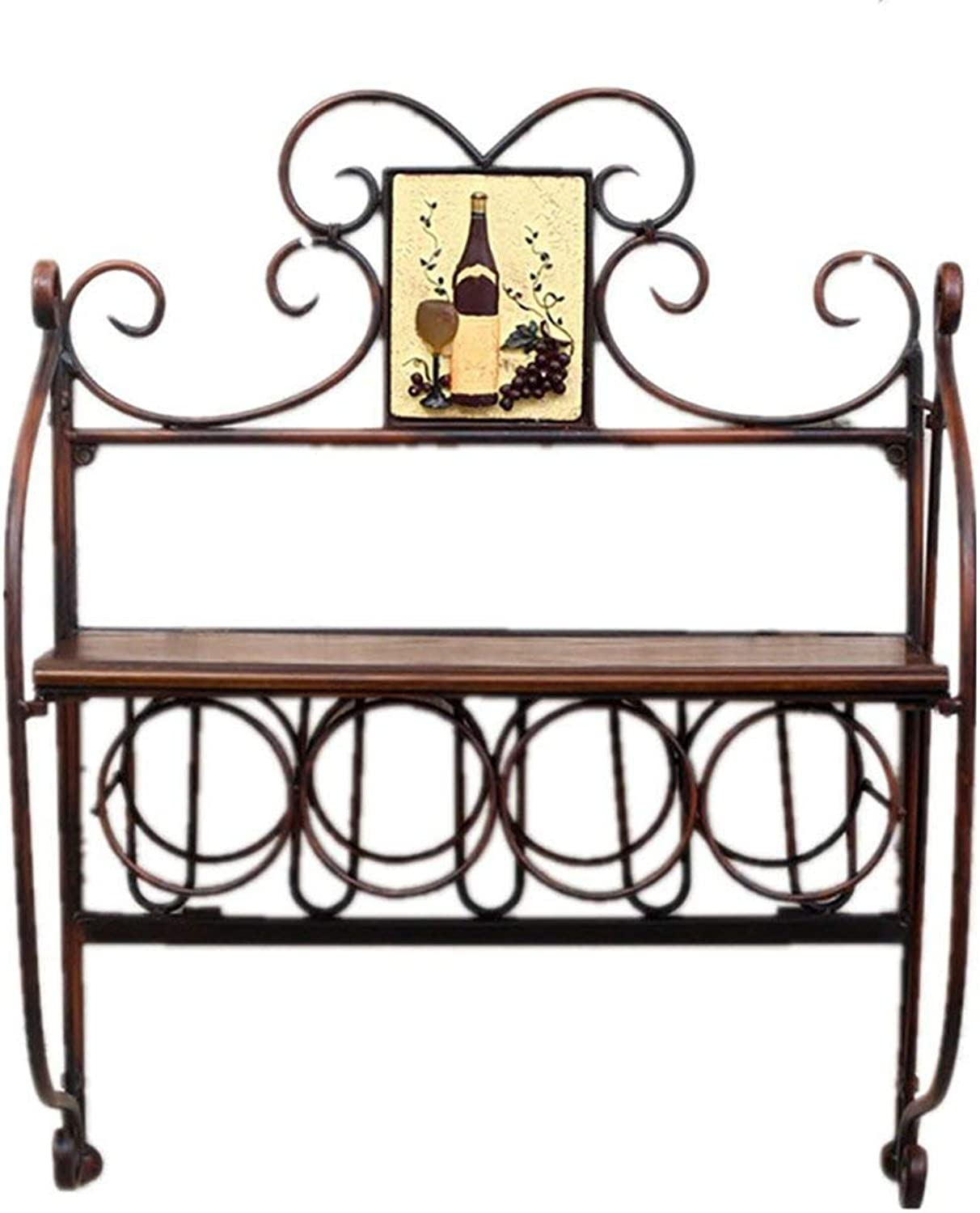Wine Bottle Rack, Wall Hanging Wrought Iron Bar Wine Display Rack Living Room Dining Room Wall Decoration Frame Size 49x22x65cm