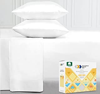 400-Thread-Count Full Size Bed Sheets on Amazon, Pure White - 4 Piece Set Long-Staple Combed Pure Natural 100% Cotton Shee...
