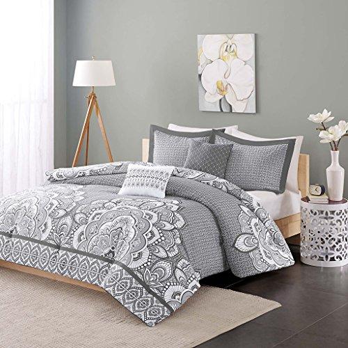Intelligent Design Cozy Comforter Casual Damask Design Modern All Season Bedding Set with Matching Sham, Decorative Pillow, Full/Queen, Isabella Grey