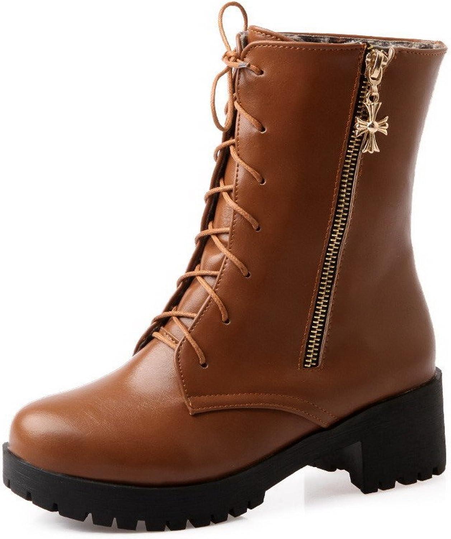 WeenFashion Women's Kitten-Heels Soft Material Low Top Solid Zipper Boots