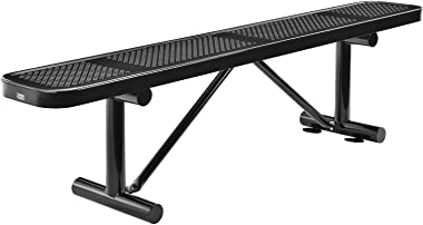 "Global Industrial 72"" Perforated Metal Outdoor Flat Bench, Black"