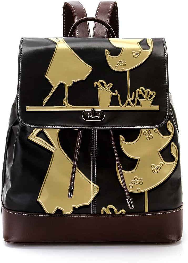 Christmas Eve PU Leather Backpack Fashion Shoulder Bag Rucksack Travel Bag for Women Girls