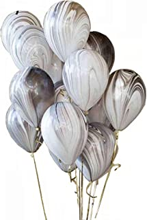 AnnoDeel 50pcs 12inch Marble Latex Balloons, Black White Grey Rainbow Marble Balloons for Wedding Baby Birthday Party Balloon Decorations