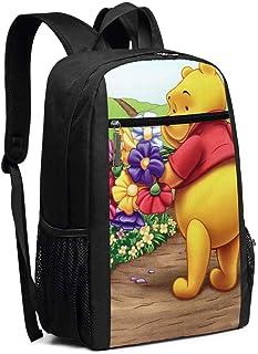 BUGKHD Mochila de viaje para portátil, diseño de Winnie Pooh y Piglet con flores, para colegio, bolsa informal, para mujer...