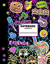 Girl Power Notebook: Girls Journal Composition Notebook: Lined writing journal with rainbow composition cover with emojis, unicorns, hearts, donuts, and girly happy designs