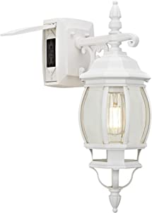 Sunbeam 16891 1-Light Outdoor Wall Sconce with Integrated GFCI, Clear Glass, White Finish, LED Edison Bulb Included