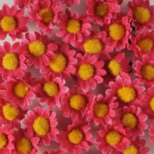 Artif-deco - Tetes de marguerite artificielles fuschia x 36 en sachet d 3 cm - choisissezvotrecoloris: fuschia