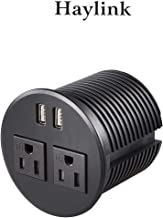Haylink Round Desktop Sockets 3 inch Desk Hole Hidden Recessed Plugs Power 2 Power Ports 2 USB Charging Ports Power Grommet Home Kitchen Conference Office Hotel Desk Plastic 6.56ft Cord ETL Approved