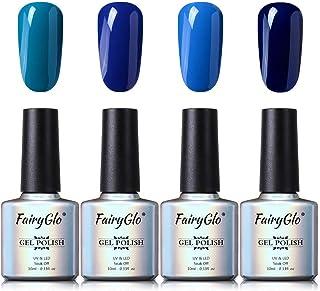 Esmalte de Uñas Semipermanente Uñas de Gel UV LED Kit de Manicura Serie de Color Azul 4pcs Manicura y Pedicura de Fairyglo...