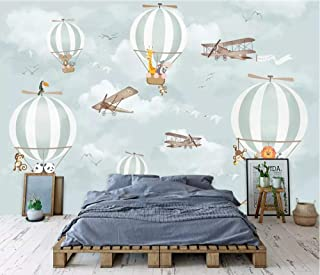 Minyose Custom Wallpaper Mural Modern Cartoon Hot Air Balloon Panda Children's Room Decorative 3D Wallpaper-300Cmx210Cm