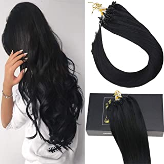Sunny Micro Ring Human Hair Extensions,20inch Micro Loop Hair Extensions Human Hair Black(#1 Jet Black) 1g/strand 40g+10g for Free,50g in Total