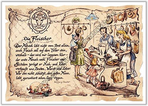 Die Staffelei Geschenk Fleischer Fleischer Schlachter Zeichnung Color 20 x 15 cm