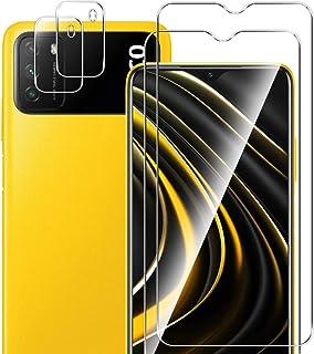 【4枚入り】Xiaomi POCO M3 用 フィルム + カメラフィルム YiOne 強化ガラス 液晶保護フィルム (2枚) + レンズ保護フィルム (2枚) 全面保護 極薄 硬度9H 高透過率 耐衝撃 指紋防止 気泡ゼロ Xiaomi PO...