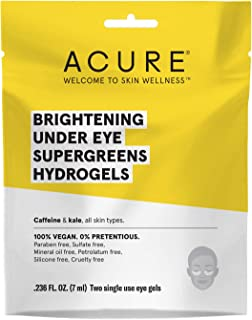 ACURE Brightening Under Eye Super Greens Hydrogels | 100% Vegan | For A Brighter Appearance | Caffeine & Kale - Soothe & Depuffs Tired Undereye Area | 2 Single Use | 12 Count