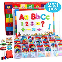 ABC Alphabet Magnets Set: This 253 PCS magnetic letters numbers set contains 52 uppercase letters,156 lowercase letters, 20 numbers, 14 math symbols, 5 cartoon refrigerator magnets, 1 double-sided magnetic writing board, 3 marker, 1 eraser and 1 stur...