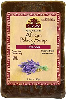 OKAY | African Black Soap with Lavender | For All Skin Types | Cleanses and Exfoliates | Nourishes and Heals | Free of Parabens, Silicones, Sulfates | 5.5 oz