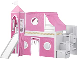 JACKPOT! Princess Low Loft Stairway Bed with Slide Pink & White Tent and Tower, Loft Bed, Twin, White
