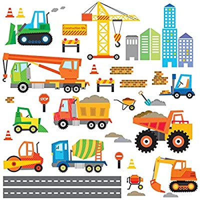 Decowall Construction Site Kids Wall Decals Wall Stickers Peel and Stick Removable Wall Stickers for Kids Nursery Bedroom Living Room(1612 8012)