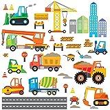 DECOWALL DW-1612 Bau Baustelle Transporte Autos Fahrzeuge