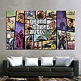 XIAOMA Cuadro clásico de dibujos animados Grand Theft Auto V, videojuegos, póster, cuadros de juegos artísticos en lienzo para pared, decoración de salón sin marco (50 x 60 cm)