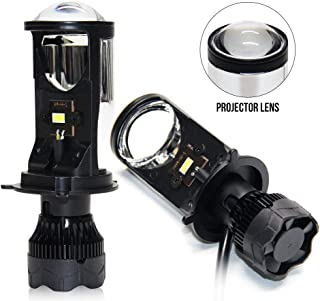 H4 Led Headlight Bulbs with Mini Projector Lens High Low Beam 9003 Led Headlights 35W 5500K 8000LM Can Solve The Astigmatism Problem Plug and Play Led Bulb Conversion Kit for Car Motorcycle (V9 H4)