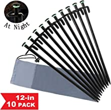 HAITRAL Heavy Duty Tent Stakes 12 Inches - Black Metal Tent Pegs, Canopy Tent Nails Spikes Set of 10 with Carrying Bag, Fluorescent Ring, Unbreakable&Durable for Backpacking Camping Climbing Hiking