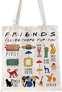 Ihopes Friends Quotes Reusable Tote Bag   Friends TV Show 100% Natural Cotton Tote Bag School Bag Friendship Gifts for Fri...