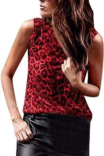 comprar comparacion Luckycat Mujer Estampado de Leopardo Camisetas Tirantes Sin Mangas Camisas Blusas Vintage Algodón T Shirt Tops