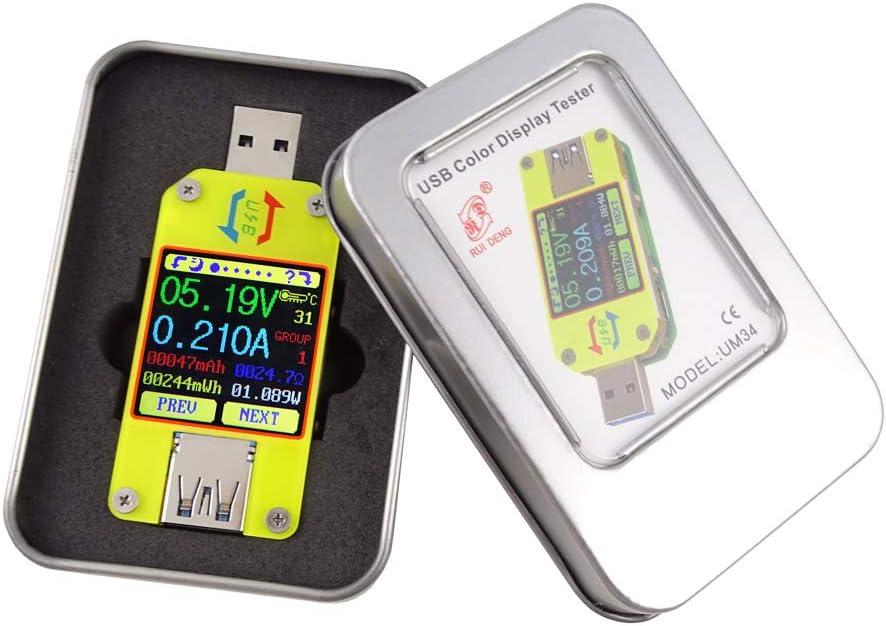 Abnana UM34 UM34C for APP USB 3.0 Type-C Test Voltmeter Ammeter Battery Charge Measure (UM34C)