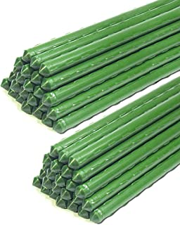 Best YIDIE Garden Stakes Sturdy Metal Fence Post 5 Ft Plastic Coated Steel Plant Sticks for Tomatoes,Trees,Cucumber,Fences,Beans,Pack of 50 Review
