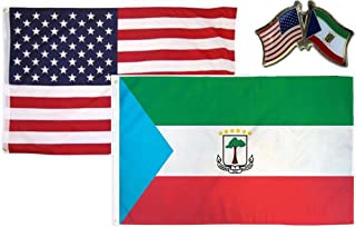 ALBATROS USA with Equatorial New Guinea Country 3 ft x 5 ft 3x5 Flag with Lapel Pin for Home and Parades, Official Party, All Weather Indoors Outdoors