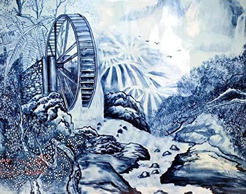 Papel pintado chino porcelana azul y blanca pintada a mano agua carro paisaje TV fondo paredes 3d papel pintado-300 * 210 cm