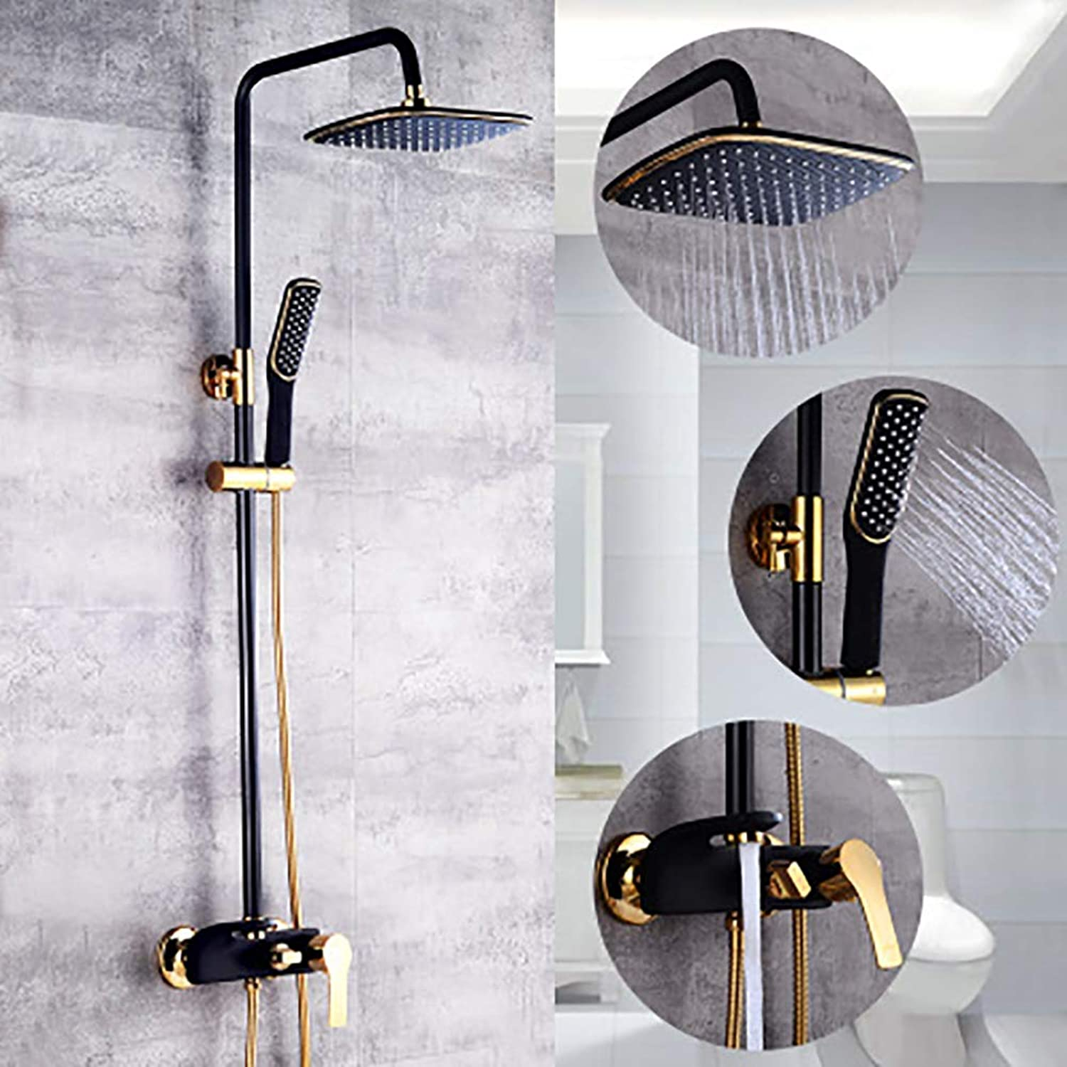 LSHUAIDJ Bathroom Luxury schwarz Shower System, All with Exquisite Copper, Shower Faucet, Square Shower, Hand Shower and Bathtub Faucet (Including mounting Accessories)