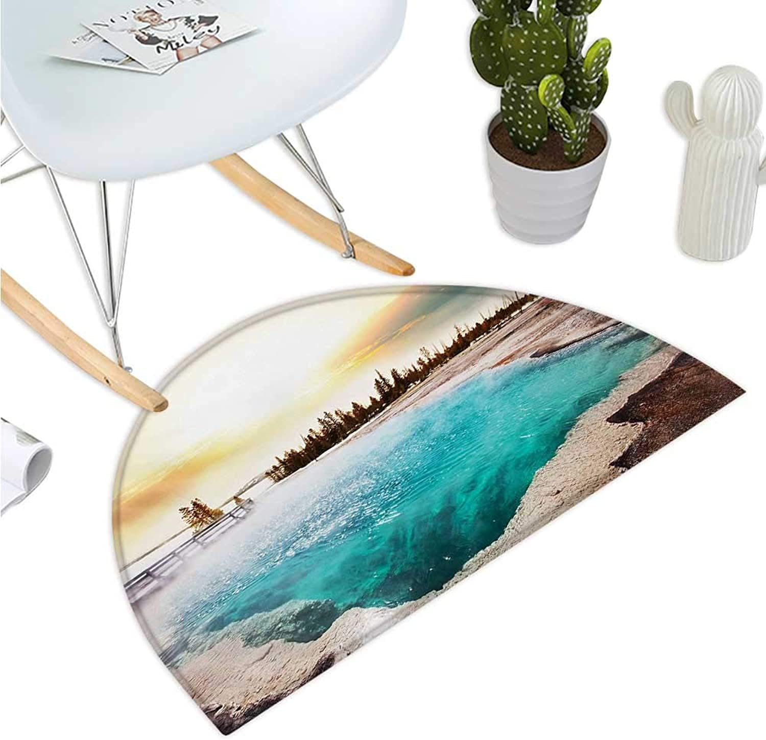 Yellowstone Semicircle Doormat Hot Springs in Yellowstone National Park Sunshine Clouds Magical Earth Nature Entry Door Mat H 43.3  xD 64.9  Turquoise