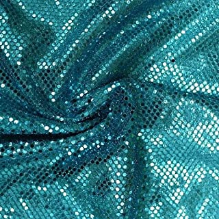 Faux Sequin Knit Fabric Shiny Dot Confetti for Sewing Costumes Apparel Crafts by the Yard (10 YARDS, Aqua)