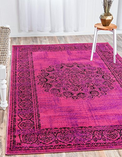 Unique Loom Imperial Collection Modern Traditional Vintage Distressed Fuchsia Area Rug (7' x 10')