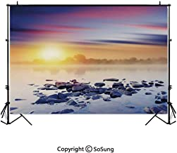 5x5Ft Vinyl Lake House Decor Backdrop for Photography,Magic Summer Sunset in the River with Northern Sky Rocks Universe Art Photo Background Newborn Baby Photoshoot Portrait Studio Props Birthday Part