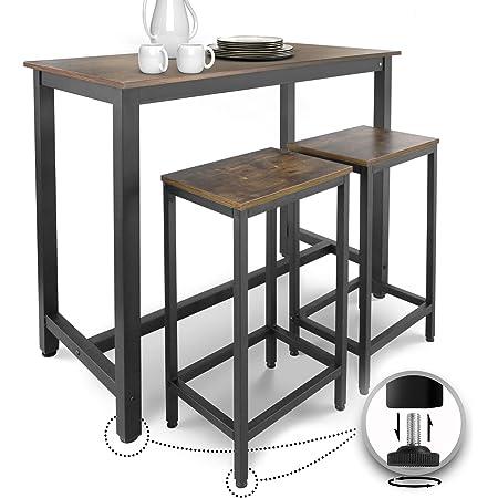Miadomodo® Table Haute avec 2 Tabourets de Bar - Style Industriel, Repose-Pieds, Cadre en Fer, Marron Rustique - Ensemble Table Bistrot Mange-Debout et Chaises de Bar, pour Cuisine, Salle à Manger
