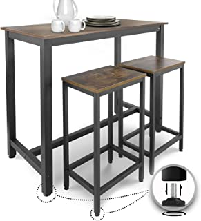 Miadomodo® Table Haute avec 2 Tabourets de Bar - Style Industriel, Repose-Pieds, Cadre en Fer, Marron Rustique - Ensemble ...